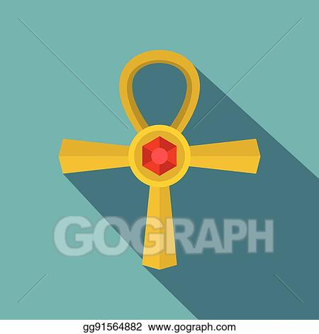 Vector Stock - Golden ankh symbol icon, flat style  Clipart