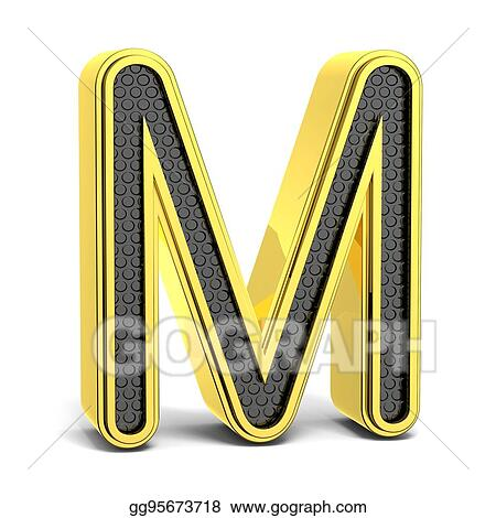 Drawing Golden Black Round Font Letter M Clipart Drawing