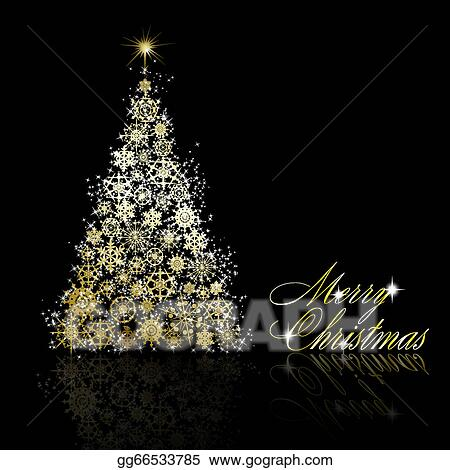 Vector Art Golden Christmas Tree Made Of Gold Snowflakes And Stars