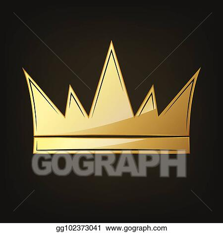 Vector Art Golden Crown Icon Vector Illustration Clipart Drawing