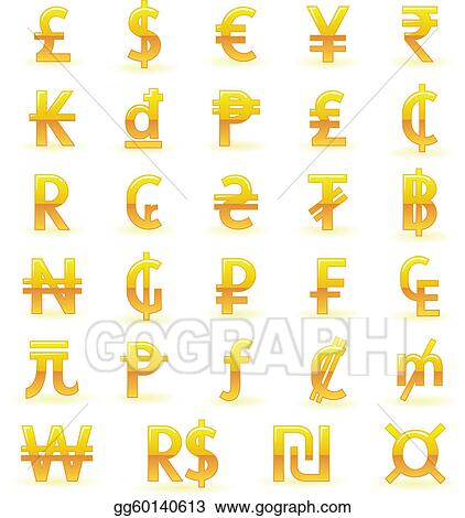 Eps Vector Golden Currency Symbols Stock Clipart Illustration