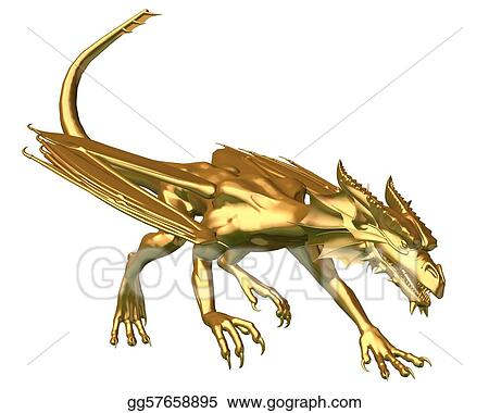 Stock Illustration - Golden dragon statue - prowling  Clipart
