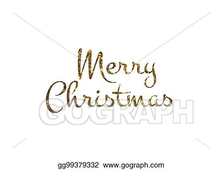 Golden glitter isolated hand writing word Merry Christmas