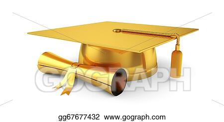 Drawing Golden Graduation Cap With Diploma Clipart Drawing