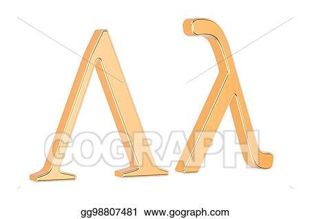 Stock Illustration Golden Greek Letter Lambda 3d Rendering