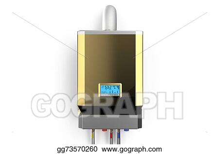 Stock Illustration - Golden home gas-fired boiler, water heater 2 ...