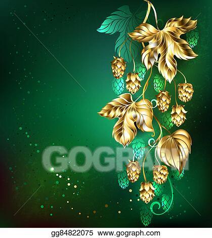 Golden Hops On Green Background
