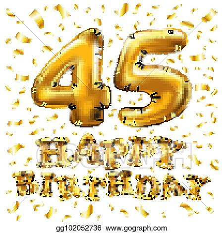 Golden Number 45 Forty Five Metallic Balloon Party Decoration Balloons Anniversary Sign For Happy Holiday Celebration Birthday Carnival