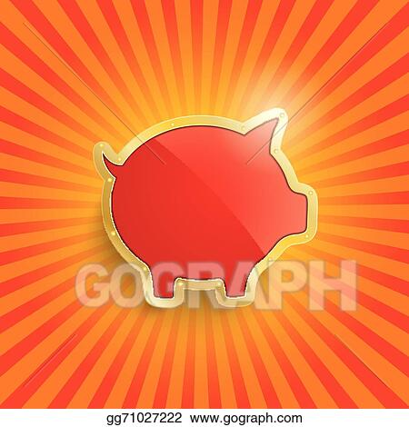 Retro Design Bank.Eps Illustration Golden Piggy Bank With Flag Retro Sun Vector