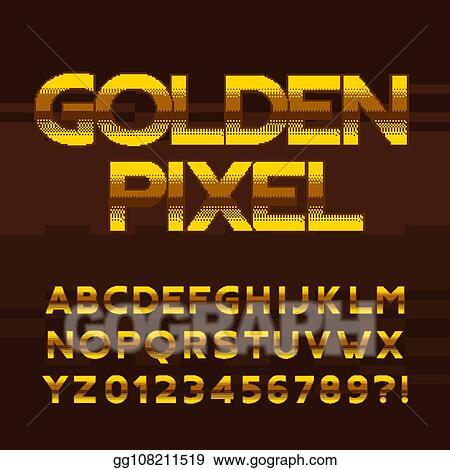 EPS Illustration - Golden pixel alphabet font  digital