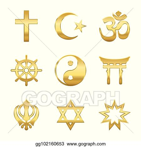 Vector Illustration Golden Religious Symbols Eps Clipart