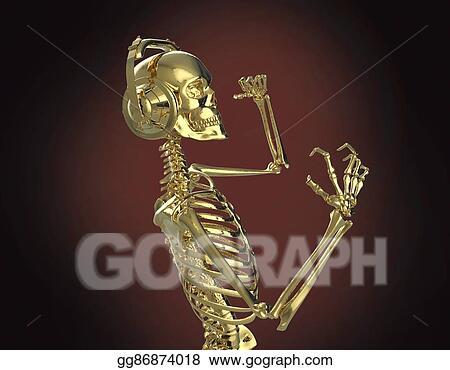 Drawings - Golden shiny metal skeleton in big earphones