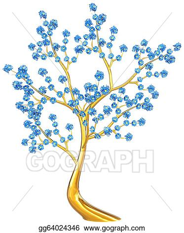 Stock Illustration Golden Tree With Blue Flowers Clipart Drawing