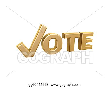 Stock Illustration Golden Vote Check Symbol Clipart Gg60455663