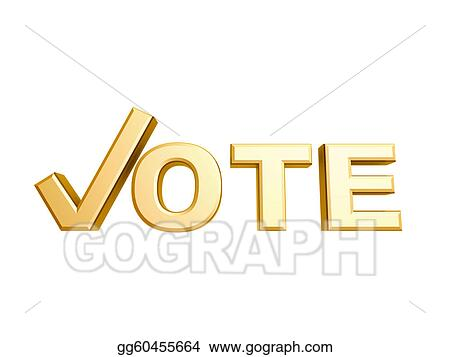 Stock Illustration Golden Vote Check Symbol Clipart Gg60455664