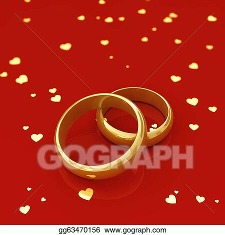 Golden Wedding Rings And Hearts On Red Background