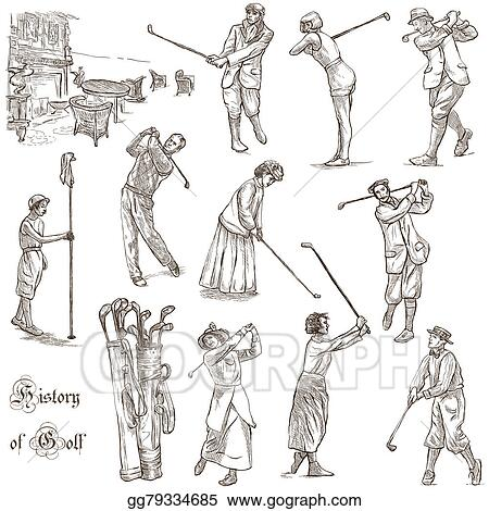 Drawings , Golf and golfers , hand drawn vintage pack