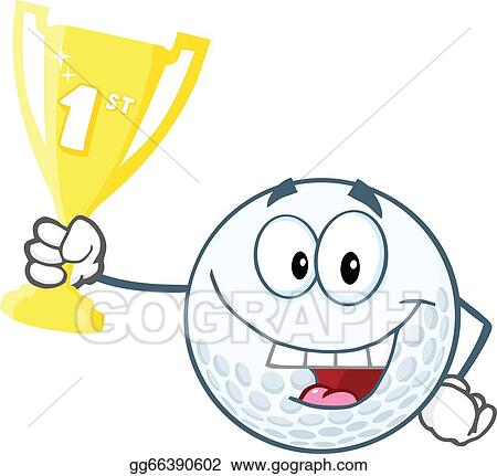 One Person Golf Cart >> Vector Art - Golf ball holding trophy cup. EPS clipart gg66390602 - GoGraph