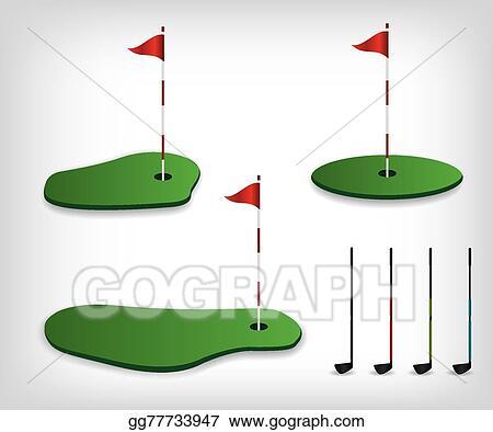 Golf illustration. Vector art course clipart