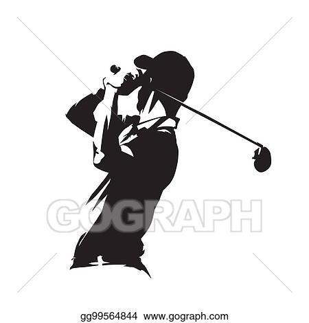 Vector Clipart Golf Player Icon Golfer Abstract Vector Silhouette