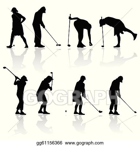 Eps Illustration Golf Player Woman Black Silhouette Vector