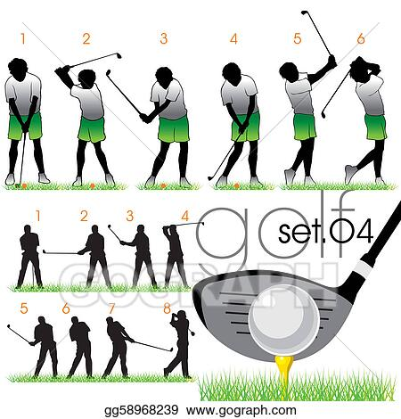 Eps Illustration Golf Silhouettes Set Vector Clipart Gg58968239