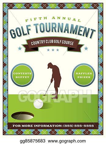 Vector Illustration Golf Tournament Flyer Template EPS Clipart