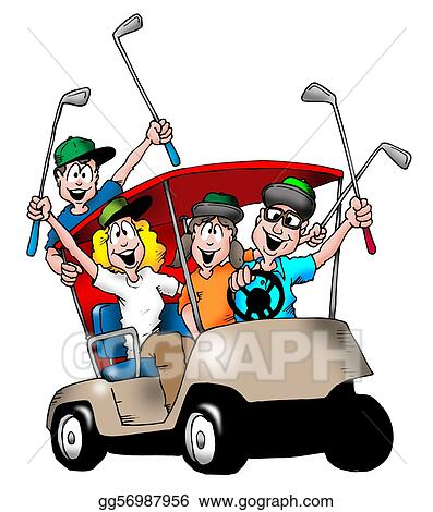 stock illustration golfing family clipart illustrations rh gograph com golf cart clip art couple golf cart clip art images