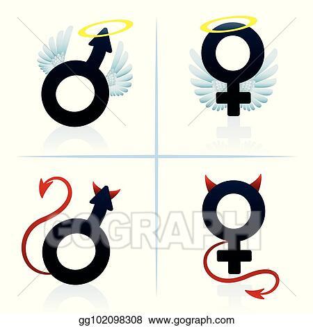 Vector Art Good And Evil Man Woman Boy Girl Symbols Eps Clipart