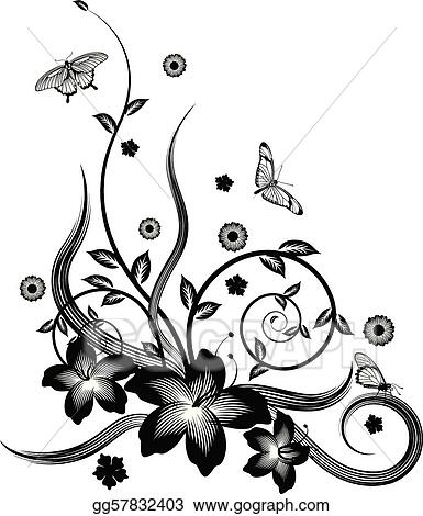 Vector Art Gorgeous Black Corner Floral Design Clipart Drawing