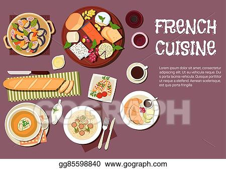 vector stock gourmet lunch of french cuisine flat icon clipart rh gograph com Gourmet Meal Communion Clip Art