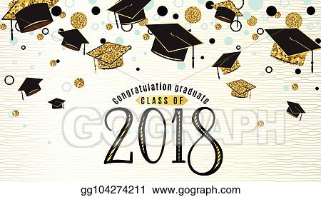 Vector Illustration Graduation Background Class Of 2018 With