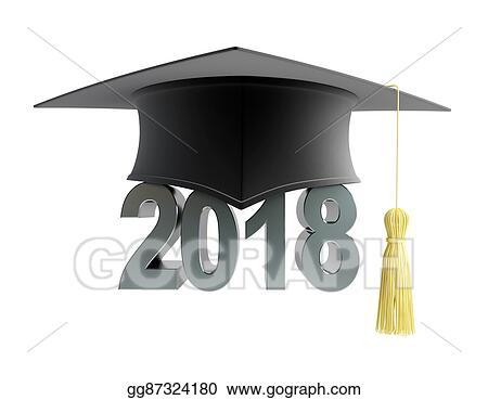 Stock Illustration - Graduation cap 2018 on a white