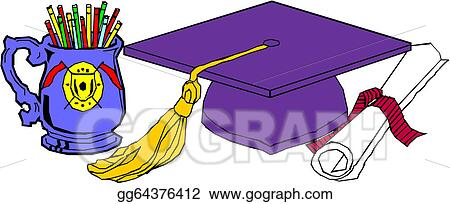 vector stock graduation cap and diploma clipart illustration rh gograph com free graduation cap and diploma clipart graduation hat and diploma clipart