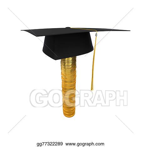 Stock Illustration - Graduation cap on stack of money co