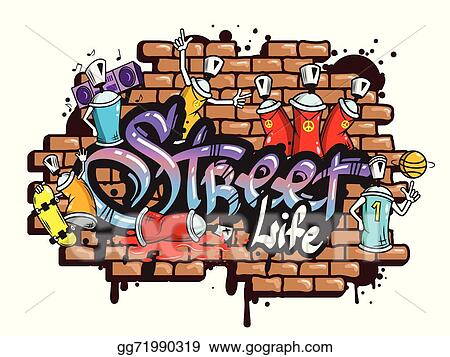 vector art graffiti word characters composition clipart drawing rh gograph com graffiti clipart letters graffiti clipart black and white