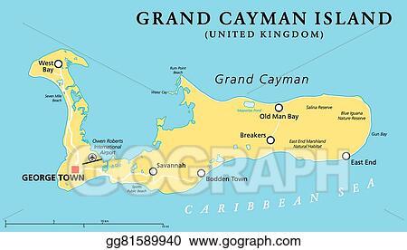 Vector Clipart - Grand cayman island political map. Vector ...