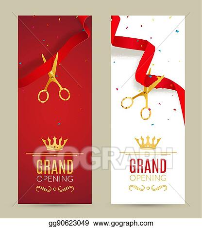 Vector Art Grand Opening Invitation Banner Red Ribbon Cut