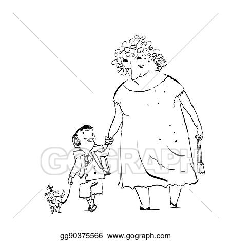 vector art grandma grandson and dog on a walk clipart drawing