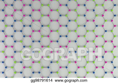 Clipart - Graphene atomic structure on white background