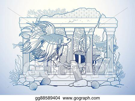 Vector Art Graphic Aquarium Fish With Architectural Sculpture