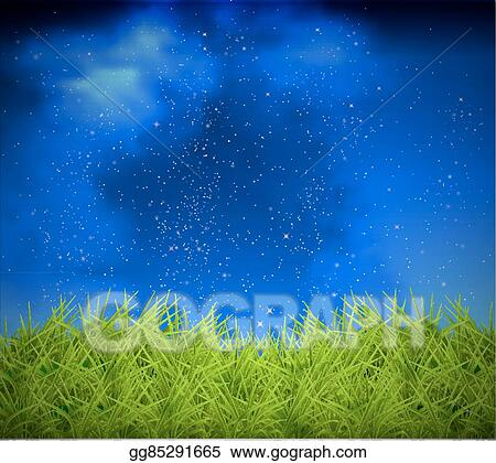 Vector Art Grass On A Background Of Night Sky Clipart Drawing