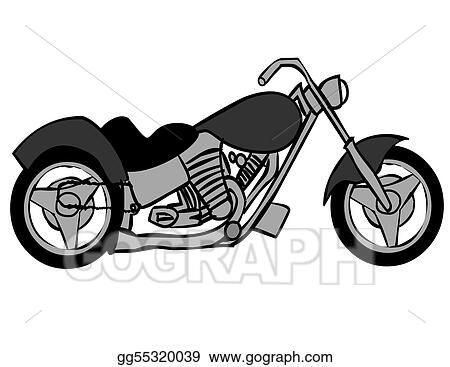 Eps Illustration Gray And Black Motorcycle Vector Clipart