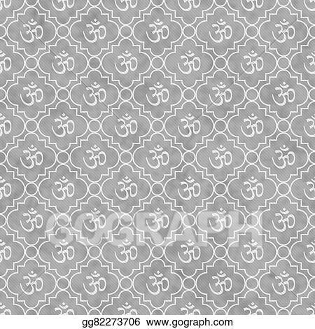 Stock Illustration Gray And White Aum Hindu Symbol Tile Pattern