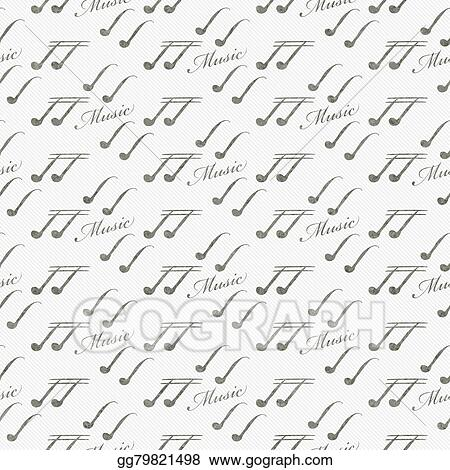 Drawing Gray And White Music Symbol Tile Pattern Repeat Background