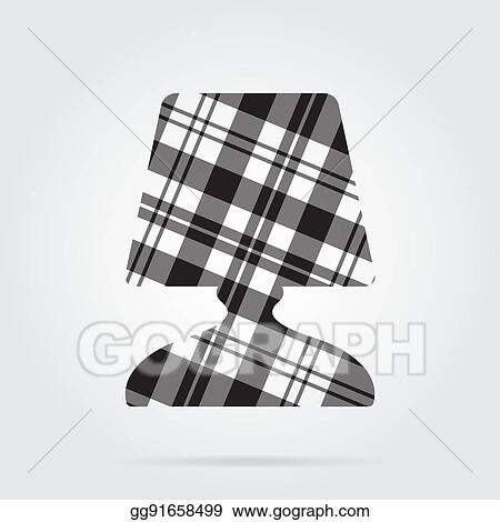 Vector Stock Grayscale Tartan Isolated Icon Bedside Table Lamp