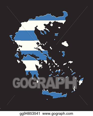 Vector Stock - Greece map vector with the greek flag ...