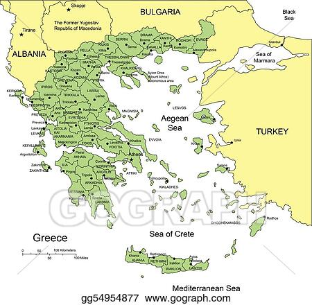 Vector illustration greece with administrative districts and vector illustration greece editable vector map broken down by administrative districts includes surrounding countries in color all objects editable gumiabroncs Gallery