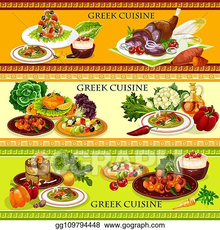 Eps Vector Greek Cuisine Seafood Dishes With Rice Dessert Stock Clipart Illustration Gg109794448 Gograph