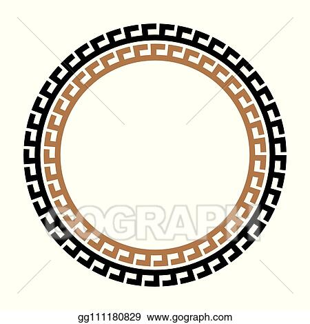 Ancient greek round meander key black and white vector pattern.  illustration of greek ancient frame round pattern.